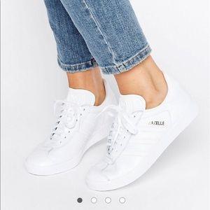 white adidas gazelle sneakers